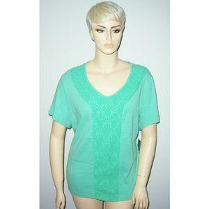 3x Karen Scott Melon Green cotton and lace top